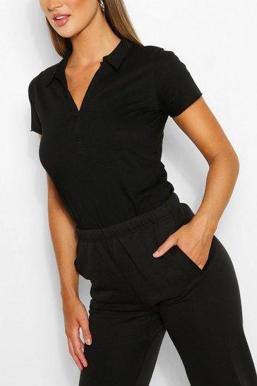 Black Basic Polo T-shirt