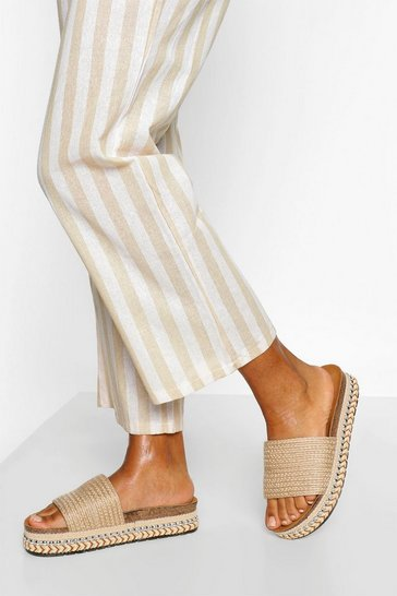 Beige Single Strap Raffia Flatfom Slider