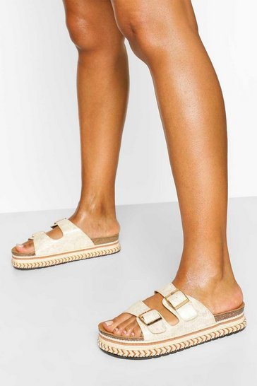 Nude Flatform Footbed Slider