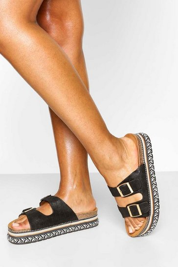 Black Flatform Footbed Slider