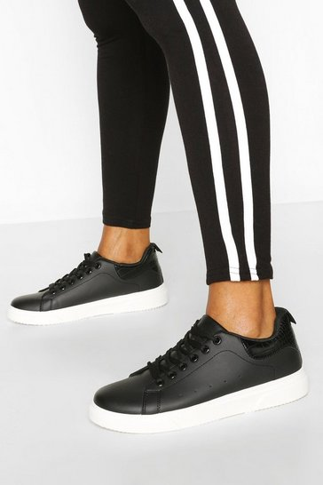 Black Basic Lace Up Trainer