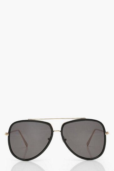 Black Oversized Framed Aviators