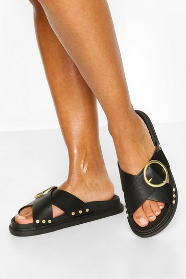 Black Buckle Trim Footbed Slider