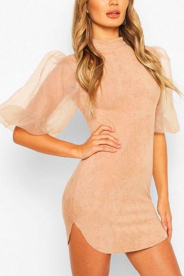 Stone Organza Bodycon Mini Dress