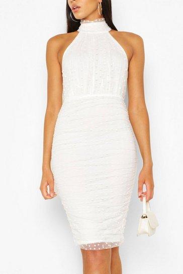 Cream High Neck Bodycon Midi Dress