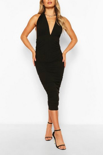 Black Plunge Neck Bodycon Midi Dress