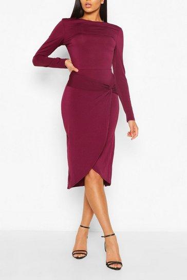 Plum Long Sleeve Wrap Midi Dress
