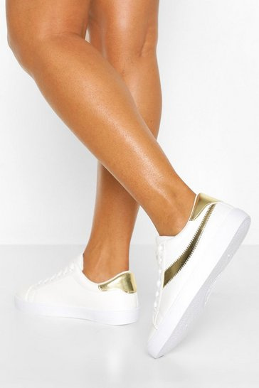Gold Platform Retro Trainers