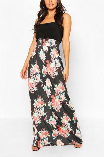 Multi Square Neck Floral Printed Maxi Dress