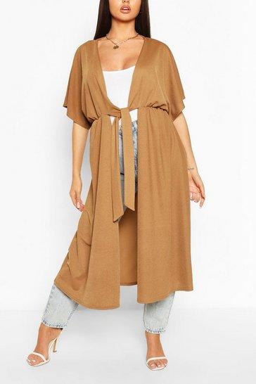 Camel Tie Front Kimono