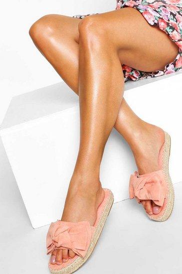 Pink Bow Front Espadrille Slider