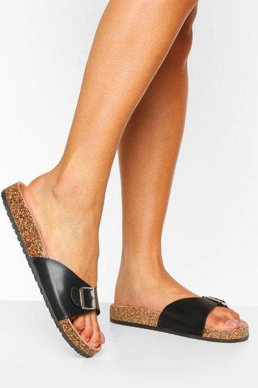 Black Buckle Strap Footbed Slider