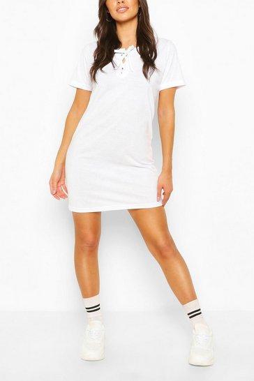 White Lace Up Short Sleeve T-shirt Dress