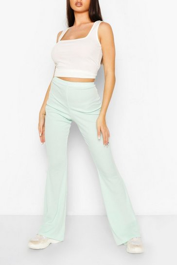 Mint Basic Ribbed Flare