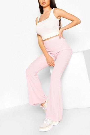 Pink Basic Ribbed Flare