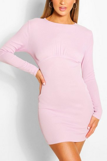Lilac Rouched Bust Long Sleeve Mini Dress