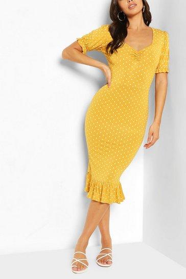 Mustard Polka Dot Ruched Frill Hem Midi Dress