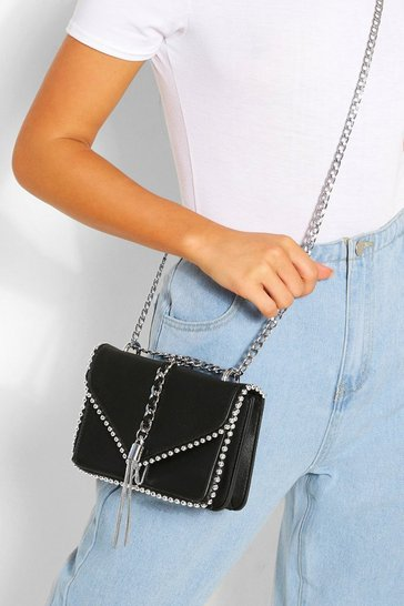 Black Chain Tassel Bead Detail Cross Body Bag