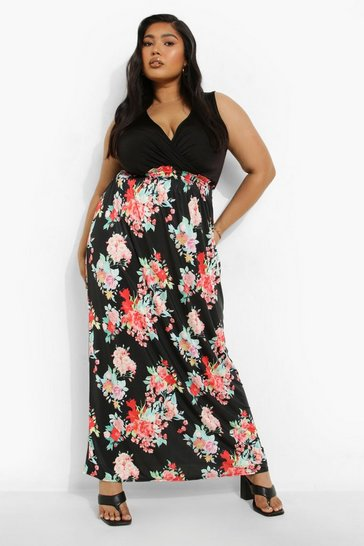 Multi Plus 2in1 Floral Print Maxi Dress