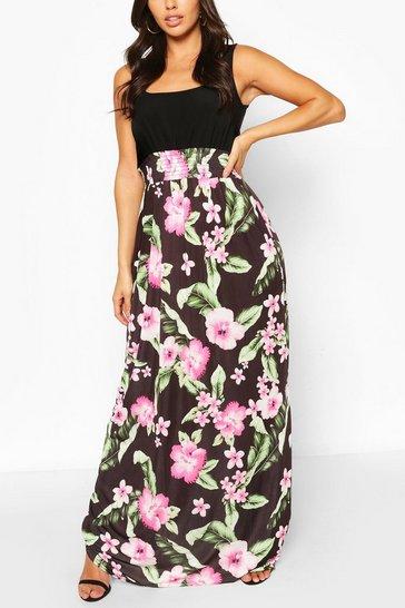 Multi 2in1 Square Neck Tropical Floral Print Maxi Dress