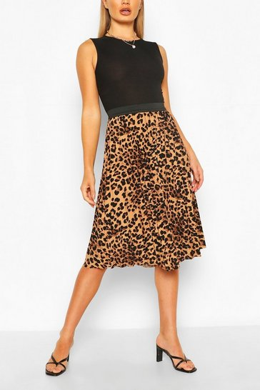 Brown Leopard Midi Skirt