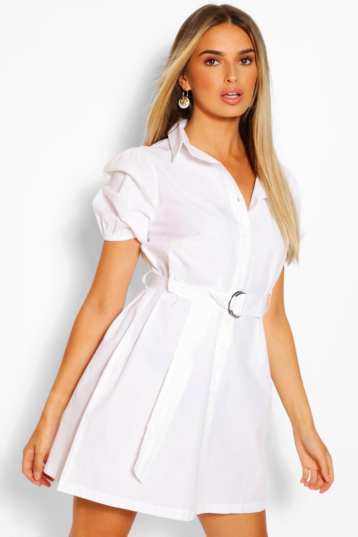 boohoo Belted Puff Sleeve Shirt Dress