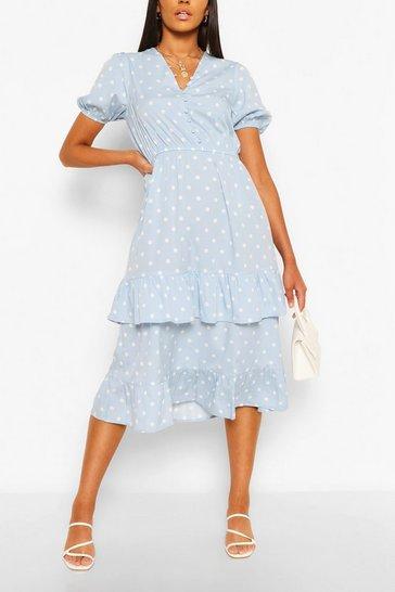 Blue Polka Dot Ruffle Hem Midi Dress
