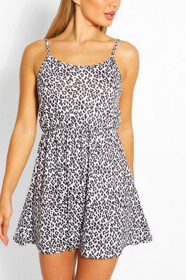 White Tonal Leopard Strappy Sundress