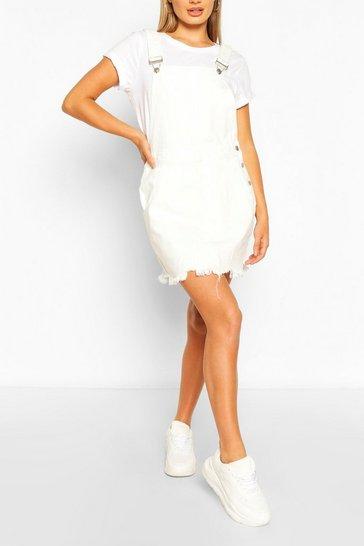Ivory Frayed Hem Denim Dungaree Dress