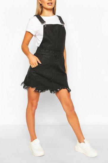 Black Frayed Hem Denim Dungaree Dress