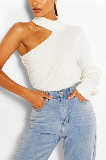 Cream Cut Out One Sleeve Jumper