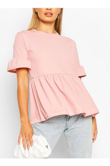 Rose Crepe ruffle smock top