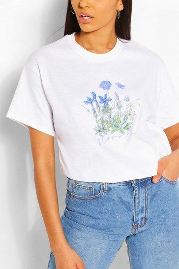 White Flower Print Slogan T- Shirt