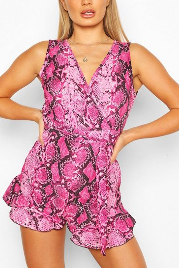 Pink Snake Print Tie Front Playsuit
