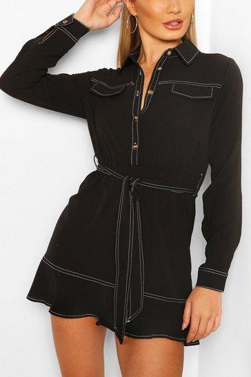 Black Contrast Stitch Shirt Dress With Tie Belt