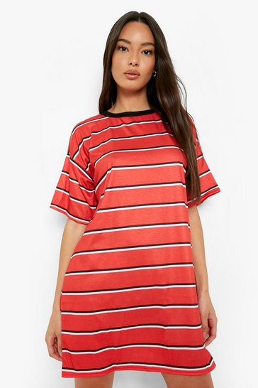 Red Stripe Oversized T-shirt Dress