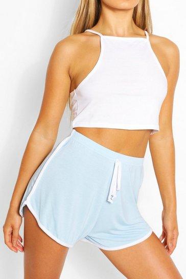 Pale blue Basic Contrast Stripe Runner Shorts