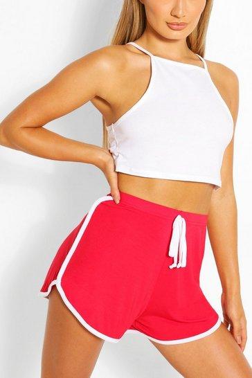 Red Basic Contrast Stripe Runner Shorts