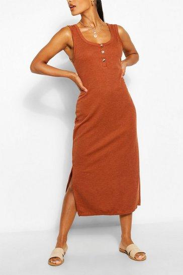Tan Button Detail Midiaxi Dress