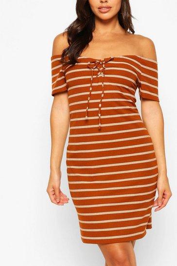 Rust Striped Bardot Mini Dress