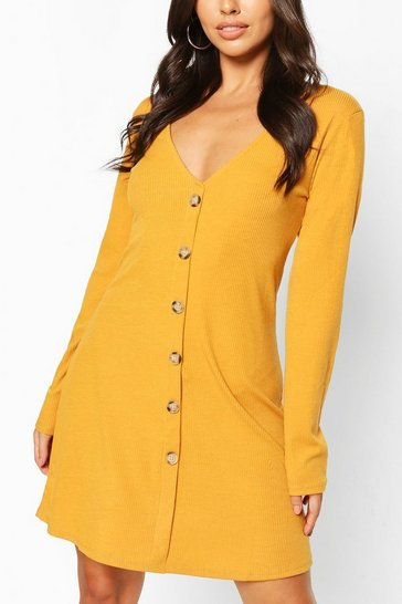 Mustard Button Front Smock Dress