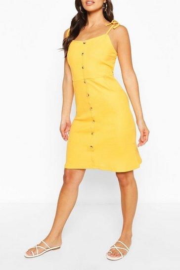 Yellow Button Front Mini Dress