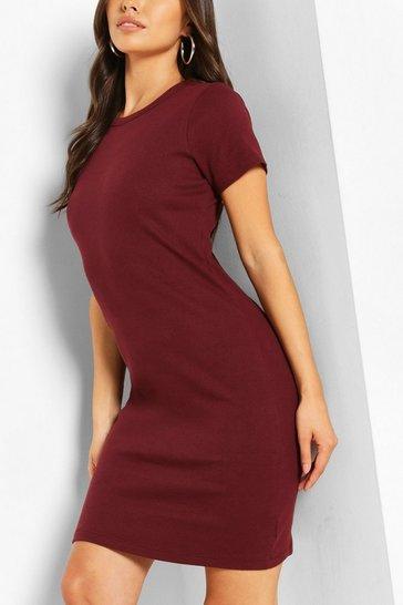Berry Ribbed Mini Dress