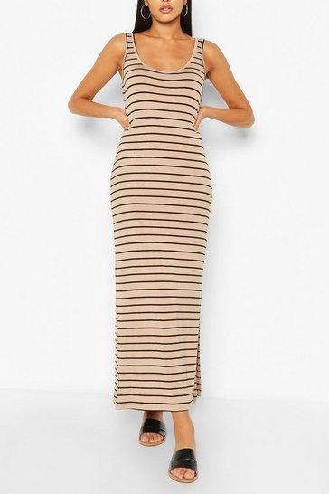 Ecru Striped Maxi Dress
