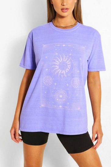 Blue CELESTIAL PRINT WASHED T-SHIRT