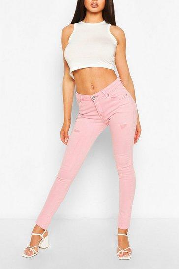 Pink High Waist Stretch Pastel  Skinny Jeans