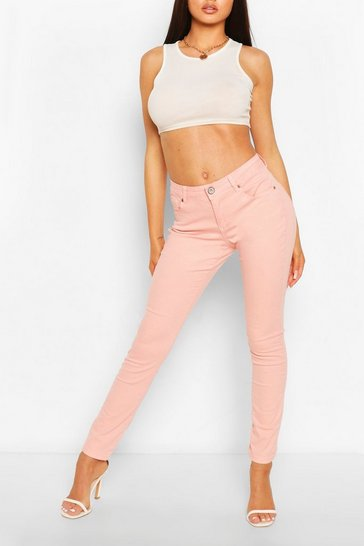 Pink High Waist Stretch Skinny Jeans
