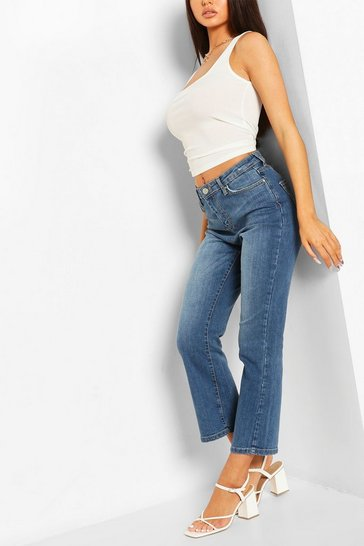 Mid blue Mid Wash Cropped Flare Jeans