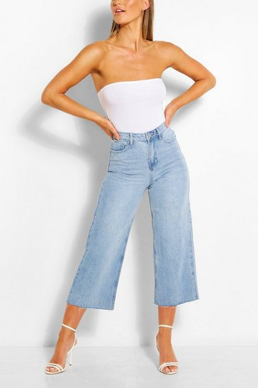 Light blue Light Wash Cropped Wide Leg Rigid Jeans