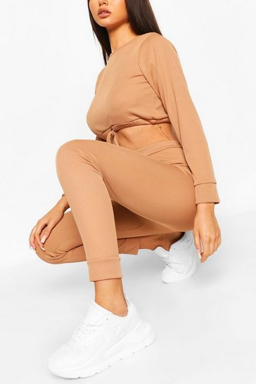 Camel Ribbed Drawstring Crop & Legging Co-ord Set